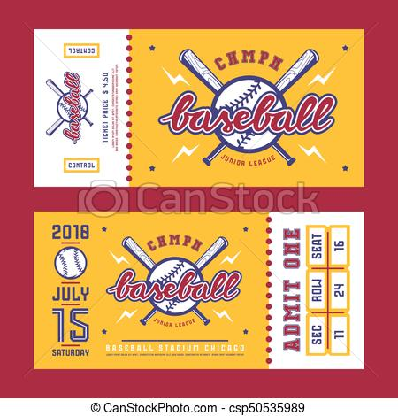 Template for baseball ticket.