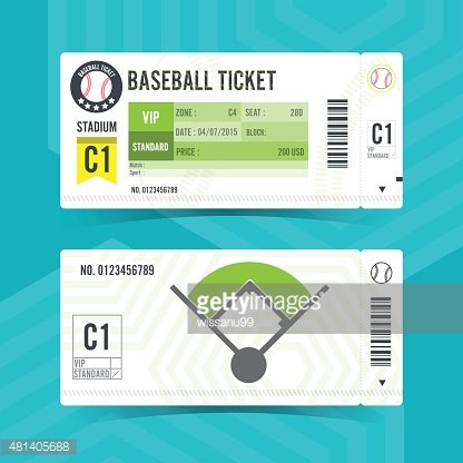 Baseball Ticket Card Modern Element Design premium clipart.