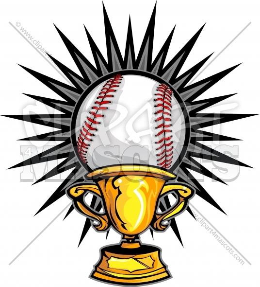 Baseball Champion Logo Trophy Vector Clipart Image.