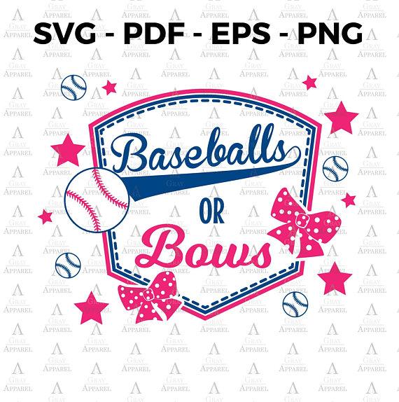 Baseball or Bows Gender Reveal Clipart SVG EPS PNG pdf.