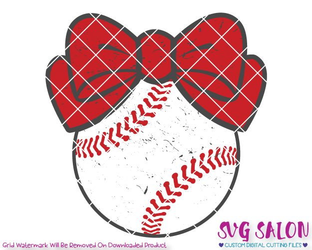 Baseball Bow Distressed Cut File Set in SVG, EPS, DXF, JPEG, and PNG.