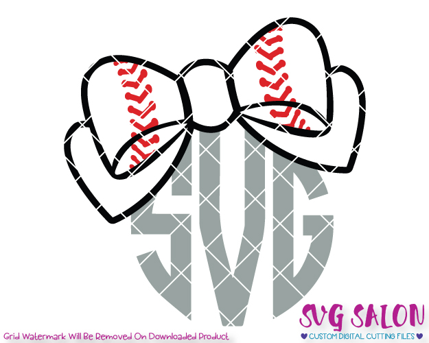 Baseball Bow Monogram Cut File Set in SVG, EPS, DXF, JPEG, and PNG.