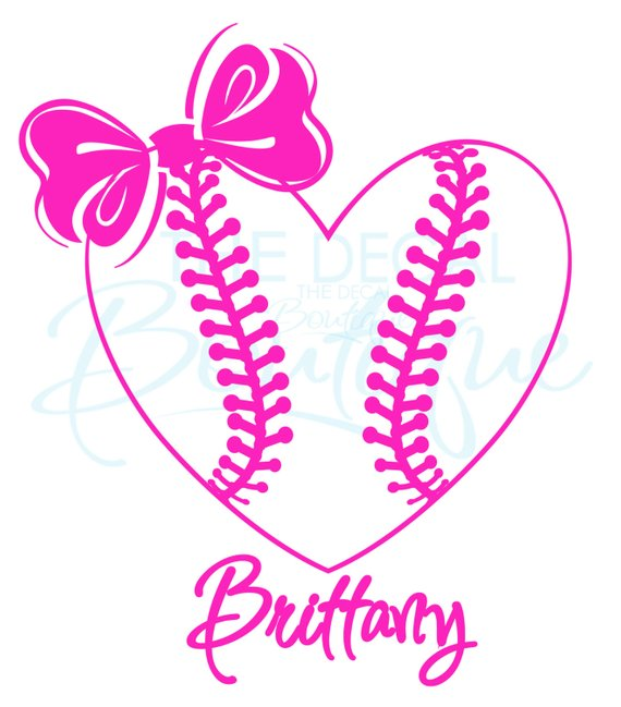 Personalized Softball Heart with Bow Wall Decal.