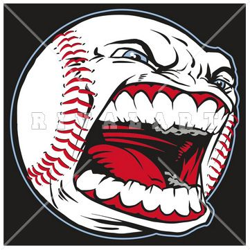 Sports Clipart Image of Graphic Baseball With Face Mean.