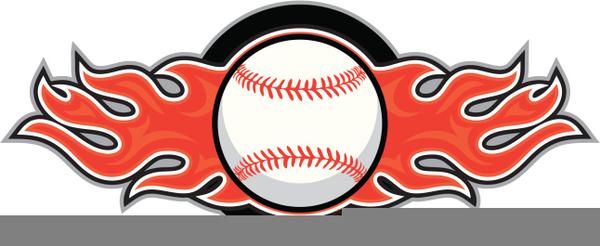 Baseball On Fire Clipart.