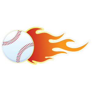 Baseball With Flames Sticker.