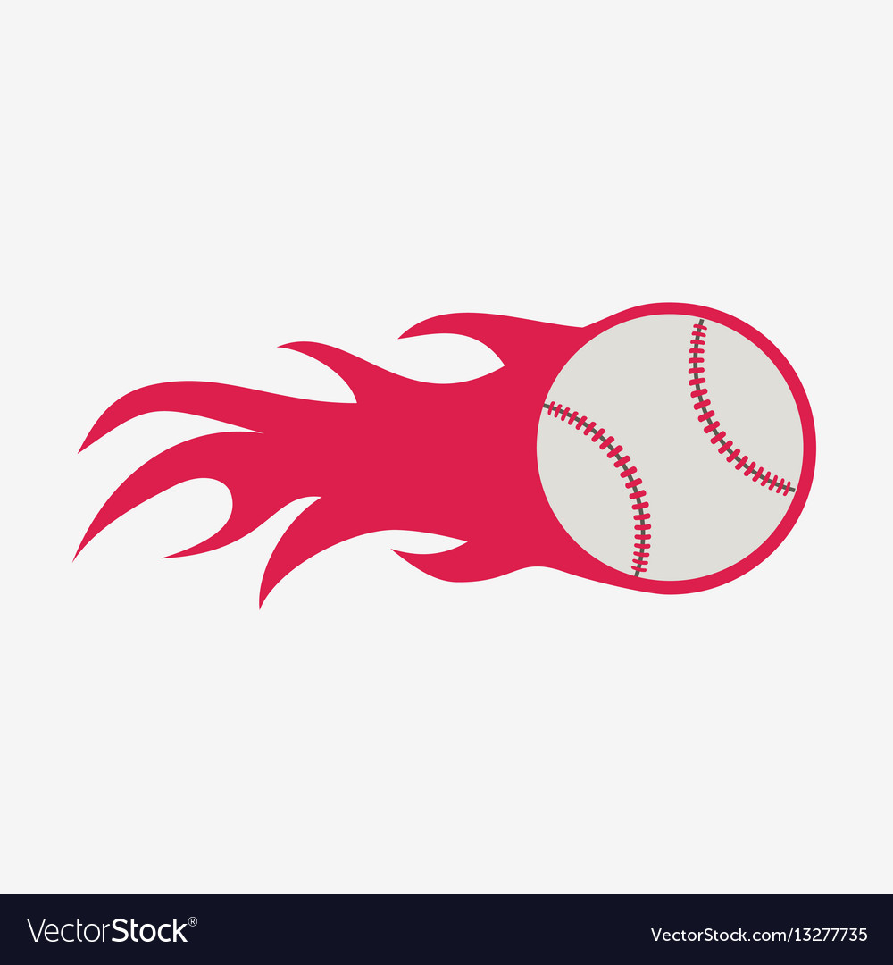Baseball ball with fire flame icon sport.