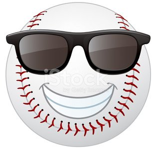 Baseball Smiley Face Clipart Image.