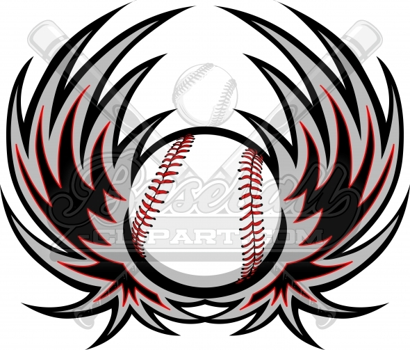 Baseball Clipart Wings Logo. Baseball Image with Wings.