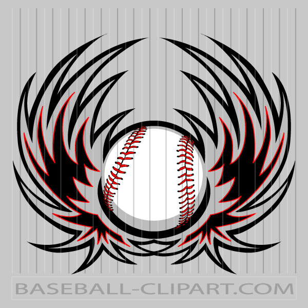 Baseball Clipart Wings Image. Easy to Edit Vector Format..