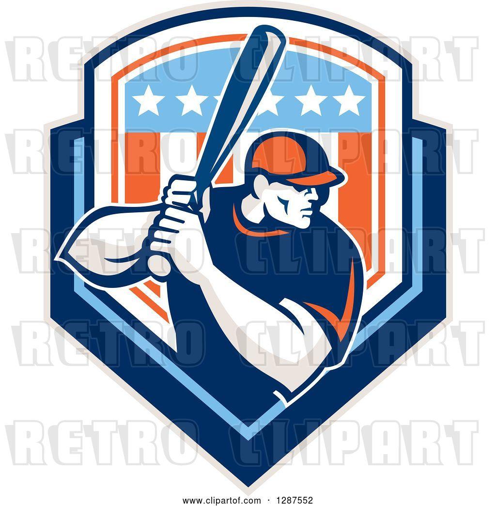 Vector Clip Art of Retro Male Baseball Player Batting Inside.