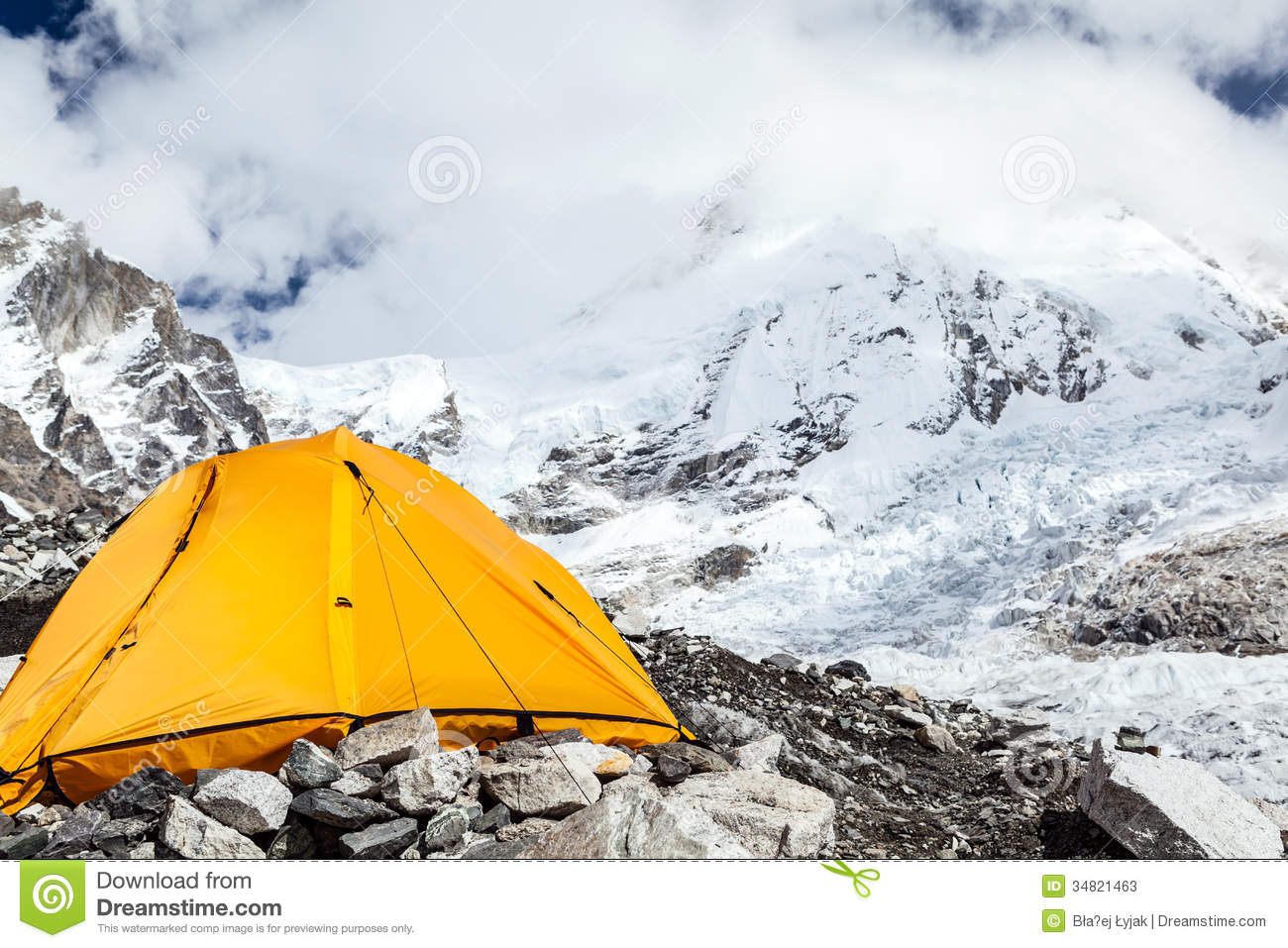 Everest Base Camp And Tent Stock Photos.