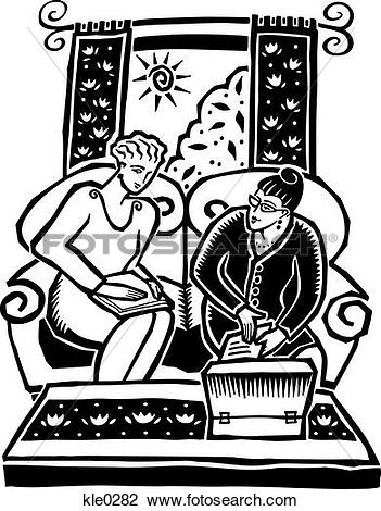 Clip Art of A saleswoman making a home based direct sales with.