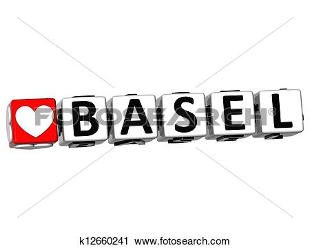 Clipart of 3D I Love Basel Crossword Block text on white.