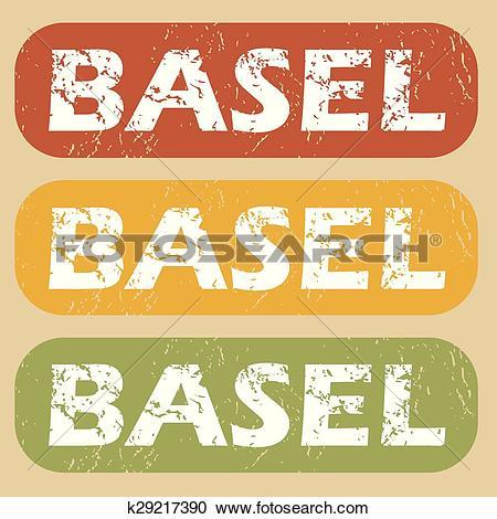 Clipart of Vintage Basel stamp set k29217390.