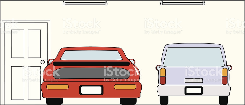 Garage With Red Sports Car And Station Wagon stock vector art.