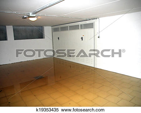 Stock Image of basement garage with high water flooded out of the.