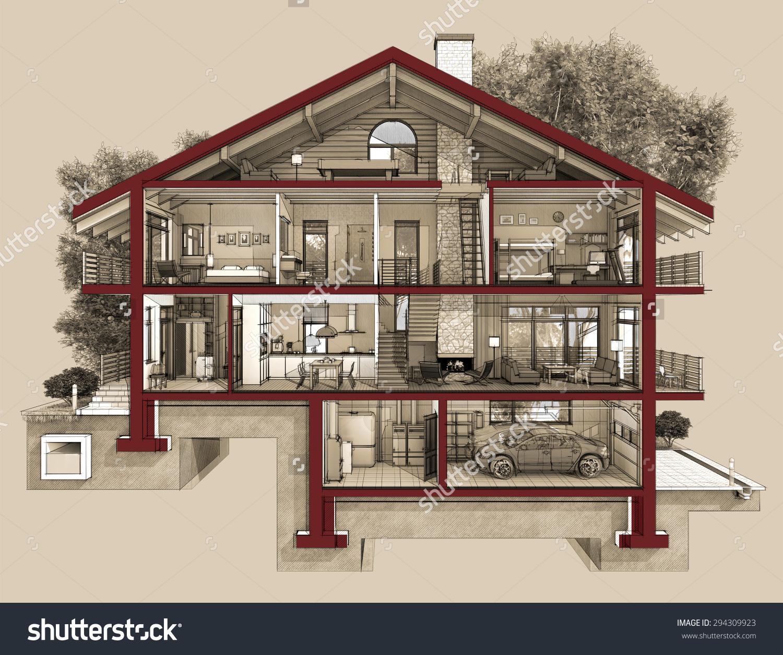 We Cut House Half We Will Stock Illustration 294309923.