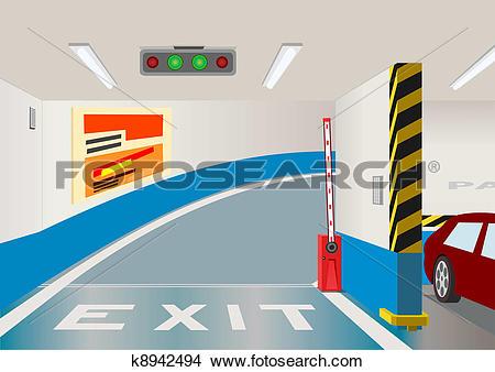 Clipart of Underground parking garage. Vector illustration.