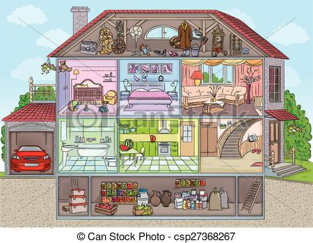 Clip Art Vector of Inside the house.