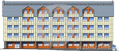 Facade Of Modern Building In Vector Stock Photo.