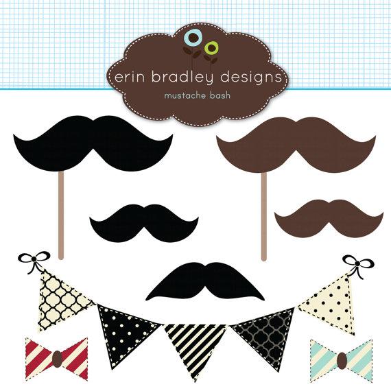Mustache Bash Clipart.