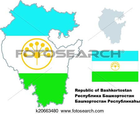 Clipart of outline map of Bashkortostan with flag k20663480.