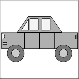 Clip Art: Basic Shapes: Car Grayscale I abcteach.com.