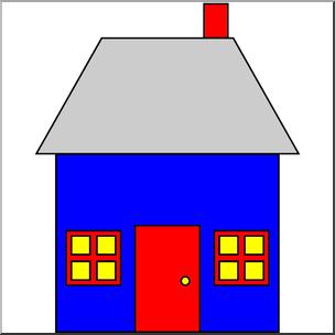 Clip Art: Basic Shapes: House 2 Color I abcteach.com.