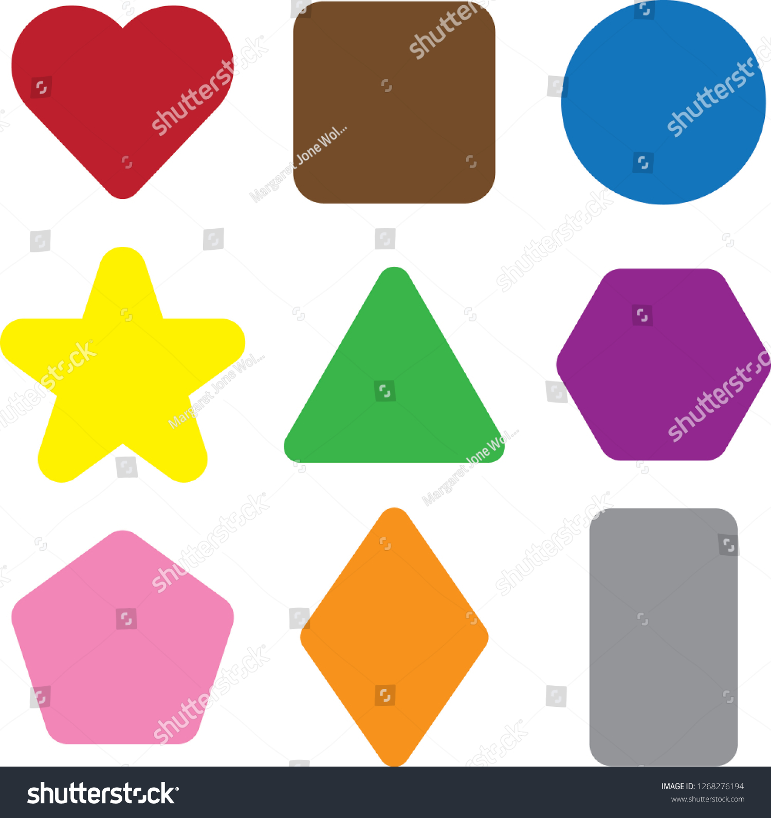 Basic Shapes Different Colors Education Clipart Stock Vector.