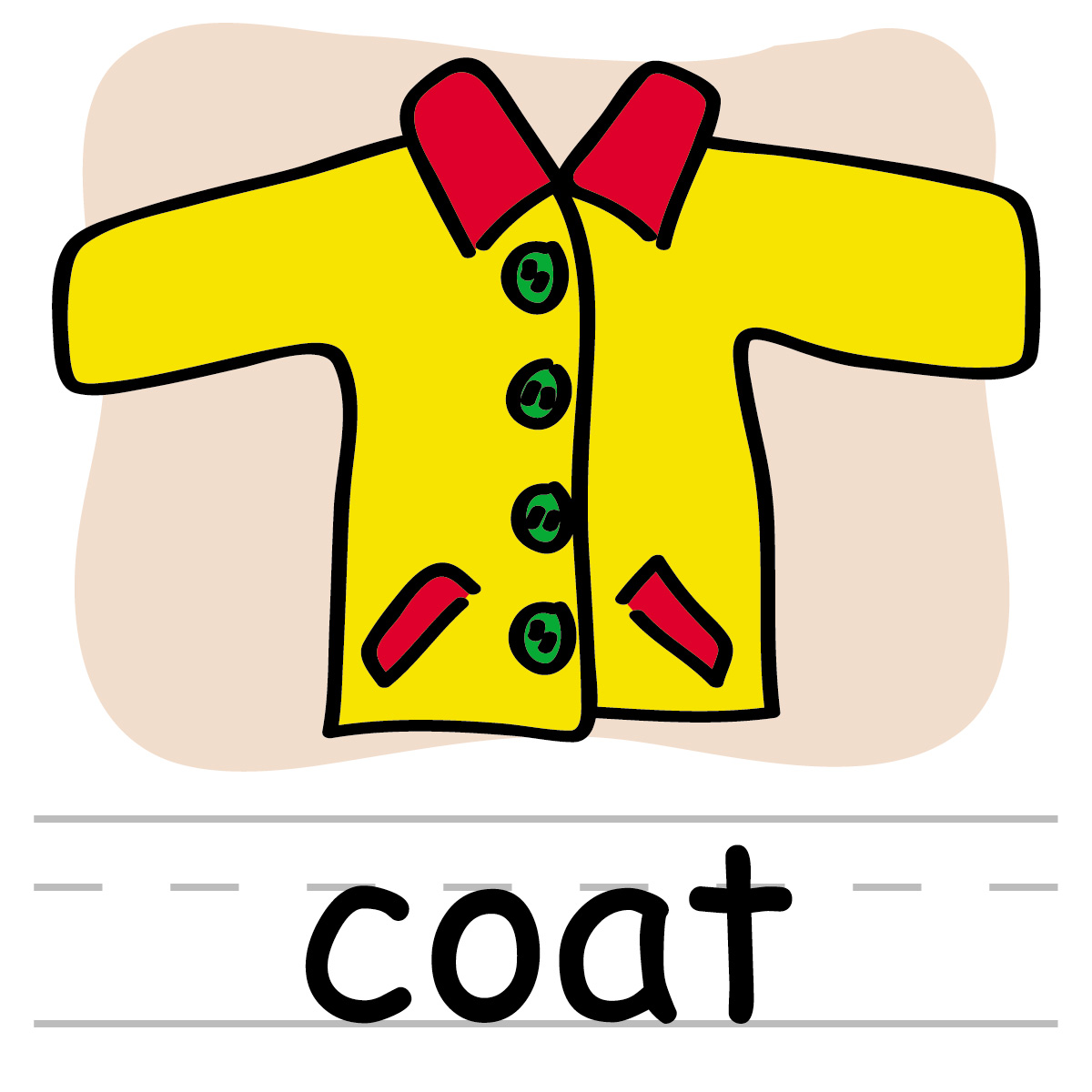 Clip Art: Basic Words: Dress Color Labeled.