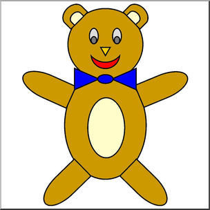 Clip Art: Basic Shapes: Teddy Bear Color.