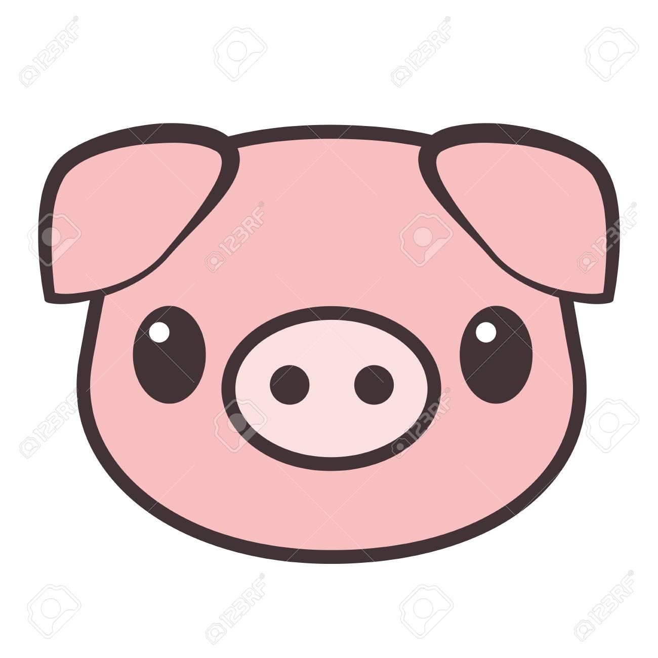 Cartoon Pig Face. Vector Illustration. R #718059.