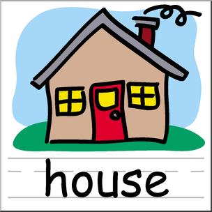 Clip Art: Basic Words: House Color Labeled I abcteach.com.