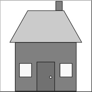 Clip Art: Basic Shapes: House 1 Grayscale I abcteach.com.