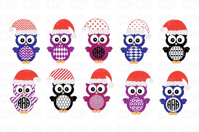 Christmas Owl Bundle SVG Cut Files, Christmas Owl Clipart.