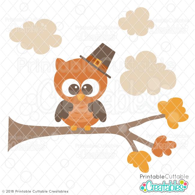 Cute Pilgrim Owl SVG File for Silhouette, for Cricut.