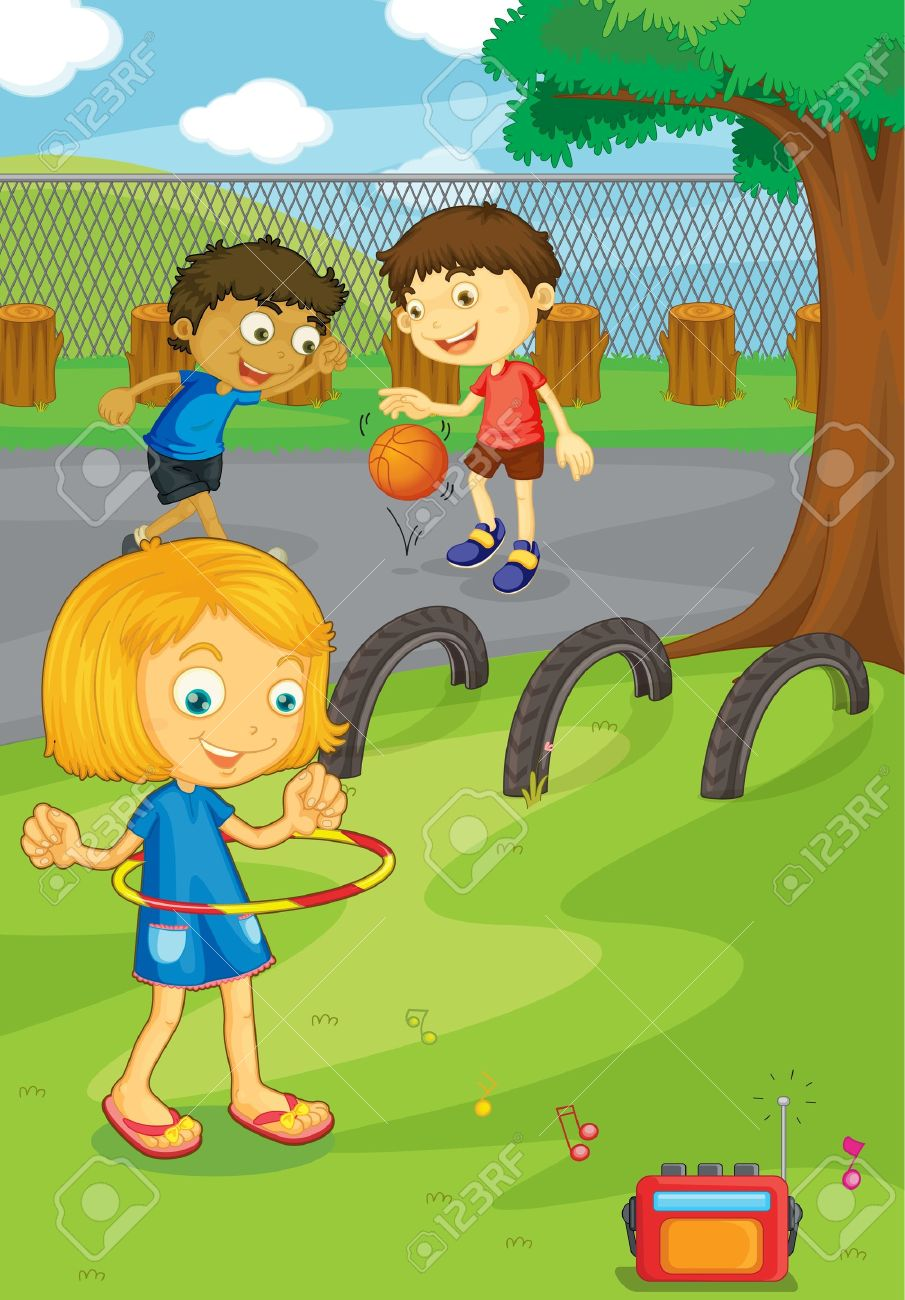 Illustration Of Friends In The School Yard Royalty Free Cliparts.