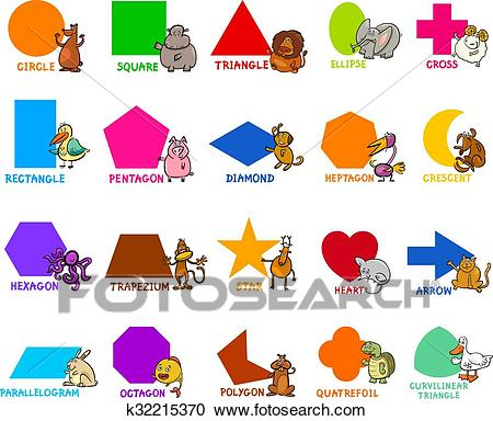 basic geometric shapes with animals Clipart.