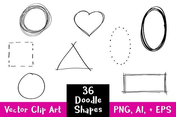 36 Doodle Basic Shapes Clipart.