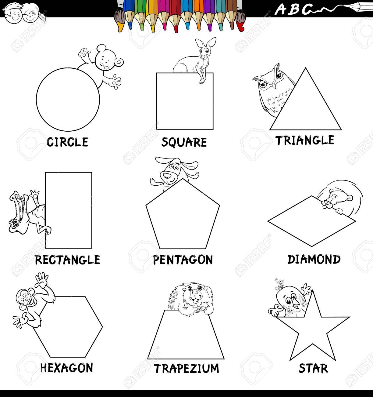 Black and White Cartoon Illustration of Basic Shapes Educational...