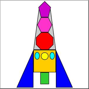 Clip Art: Basic Shapes: Rocket Color I abcteach.com.