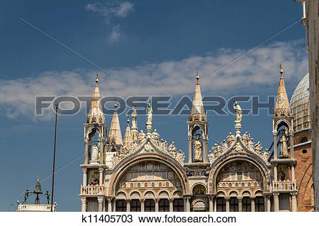 Stock Photo of Saint Marks Basilica, Cathedral, Church Statues.
