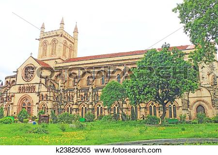 Stock Image of All Saints basilica Cathedral allahabad india.