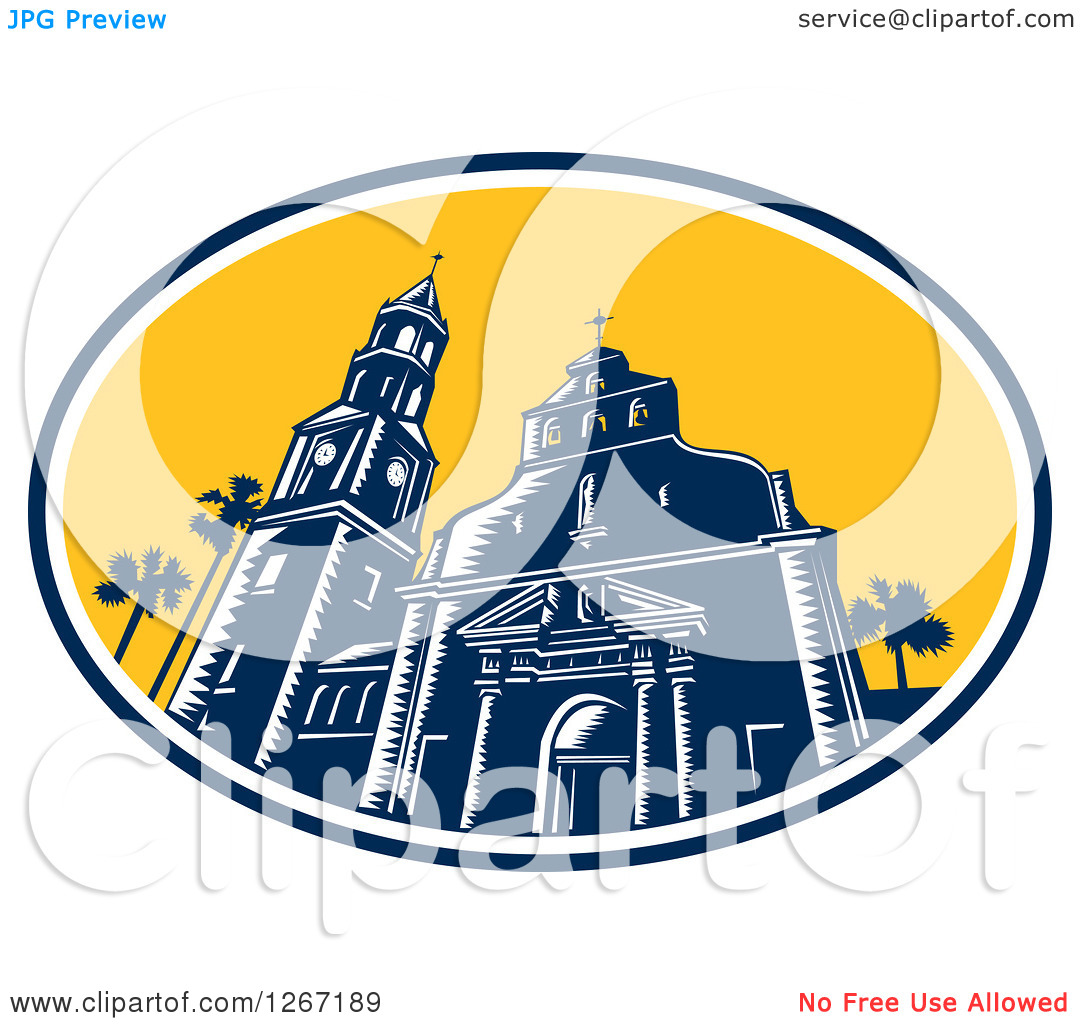 Clipart of a Retro Woodcut Scene of the Cathedral Basilica of St.