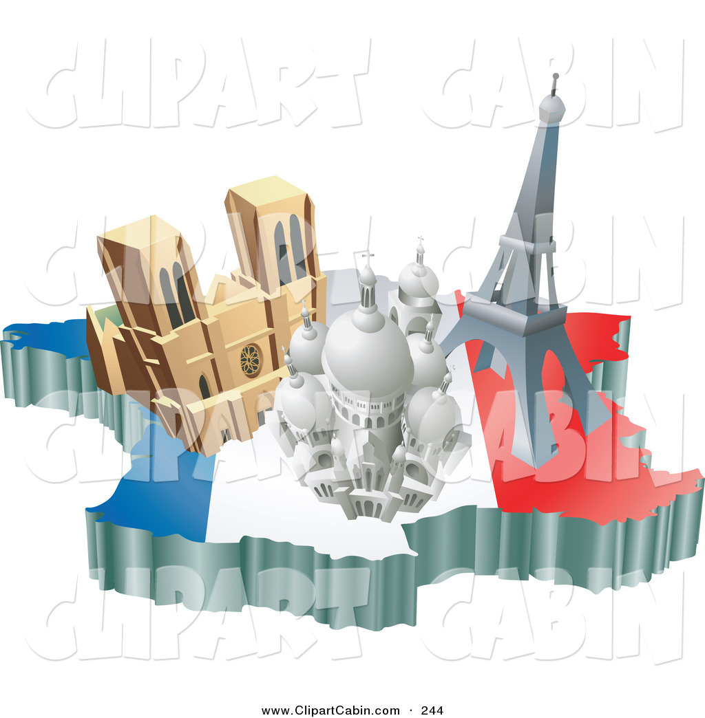Vector Clip Art of Three French Tourist Attractions; the Basilica.
