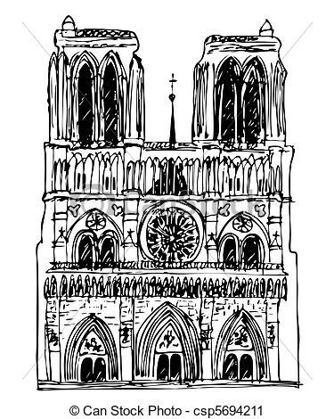 Vector Clip Art of basilica Notre Dame.