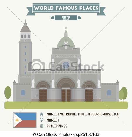 Clip Art Vector of Manila Metropolitan Cathedral.