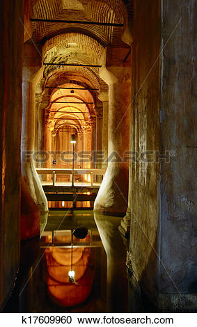 Stock Photography of The underground reservoir of Basilica Cistern.