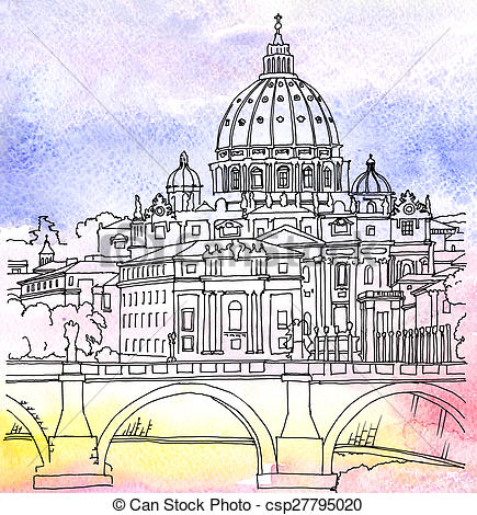 Clip Art of The dome of St. Peter's Basilica in Rome.